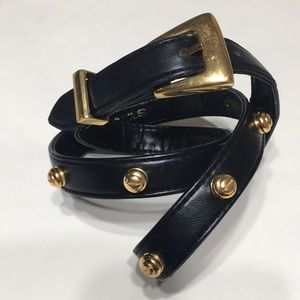 ST. JOHN belt gold stud black leather vintage sz 8